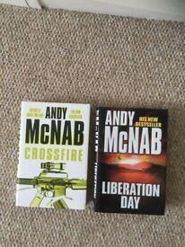 Andy Mcnab hardback books Liberation Day and Crossfire