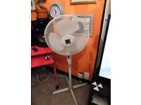 Freestanding pedestal fan in white
