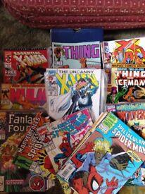 107 COMICS (Xmen, Spiderman, Wolverine, The Incredible Hulk, The Thing, Fantastic Four, etc.))
