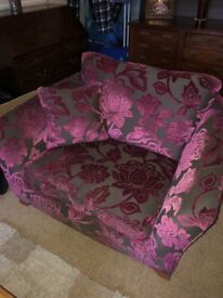 Marks and Spencers Pink and Chocolate Floral Love Seat Armchair