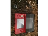 Flame Red Nintendo 3DS with charger & 2GB SD card