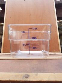 FOOD STORAGE CONTAINERS...CLEAR , HEAVY DUTY, (commercial)