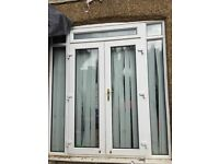 Upvc white french doors with side panels