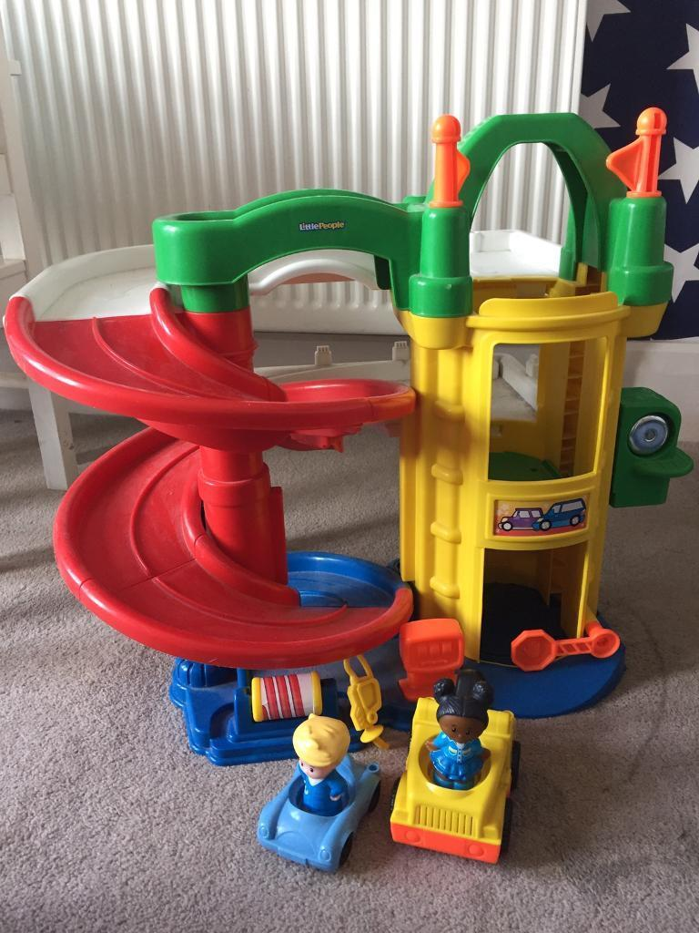 Fisher Price garage with cars and people