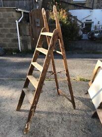 Vintage wooden painters ladder