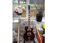 AXL Semi Hollow Jazz Guitar. Wine Coloured