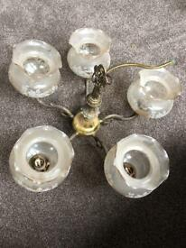 5 bulb pendant glass and brass coloured ceiling light