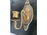 Pair brass wall mounted candleholder
