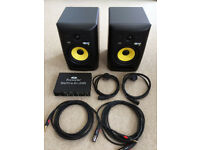 KRK, Rokit 6, Studio Monitors with Focusrite, Saffire 6, USB, Audio Interface.
