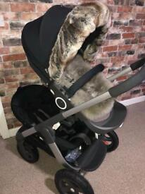 Stokke cruis double, sibling seat, trialz wheels, gabe and grace fur and hood