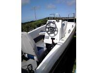 wilson flyer 17ft fishing boat dory + galvanize trailer + 75hp mariner