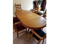 Pine extendable dining table with 6 chairs
