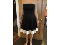 Coast, black and white dress, strapless, size 10