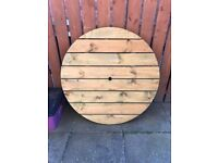 ROUND WOODEN PICNIC TABLE TOP - TOP ONLY