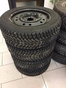 4 Used 205/60R16 Maxtrek winter tires on steel wheels for Kia Soul