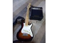 Elevation electric guitar 3/4 size with amp.