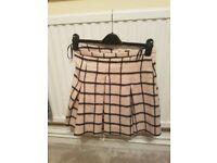 WOMENS PINK WITH BLACK SQUARE SKIRT - WAREHOUSE SIZE 10