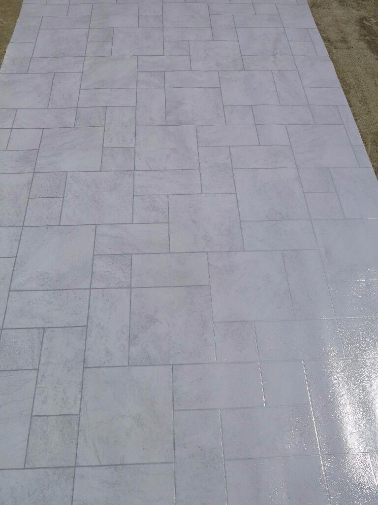 tile effect vinyl flooring floorcovering lino grey. Black Bedroom Furniture Sets. Home Design Ideas