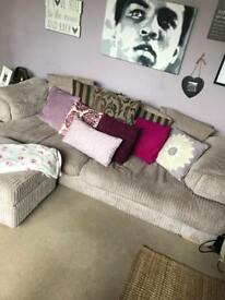 4 seater DFS sofa and x2 poofs