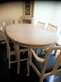 Solid Oak, Lime Washed dining table