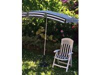Garden Parasol With Cast Iron Stand & Garden Chair