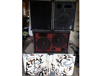 speakers, bass bin, rig, audio equipment