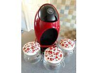 Dolce gusto manual coffee machine. 3 glass and ceramic matching storage jars