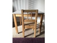 Kids Scandinavia Table and 1 chair - Pine- Used but very sturdy