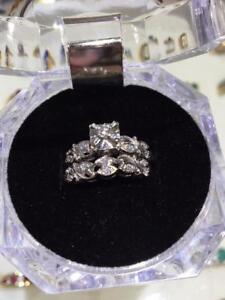 #1288 ESTATE 18KT ENGAGEMENT RING AND MATCHING BAND, WHITE GOLD WITH DIAMONDS. APPRAISED VALUE $3,100. OUR PRICE: $895