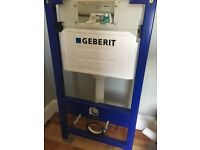 Gerberit toilet, concealed frame, flush panel, system rail, great condition.