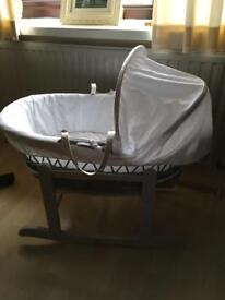 Grey wicker Moses basket and stand