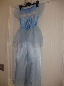 DISNEY CINDERELLA DRESS age 6-7 +tiara +FREE CINDERELLA SNOW GLOBE PHOTO FRAME IMMACULATE - BARGAIN!