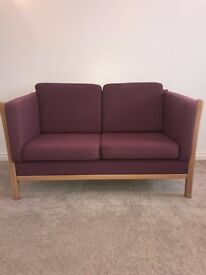 """Danish vintage 2 seater Stouby style sofa in """"plum"""" color"""