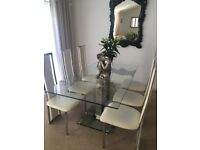 Glass & Chrome Dining table with 6 chairs