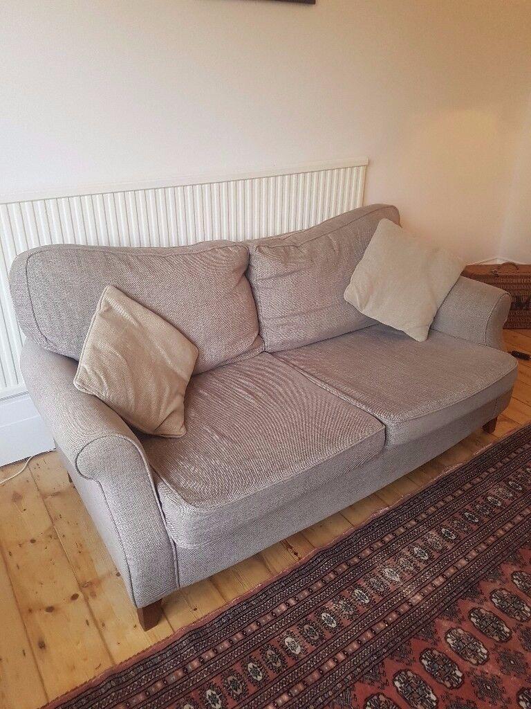 Sandstone John Lewis sofa - newly stuffed cushions - only 5 yrs old