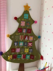Large felt Christmas tree advent calendar