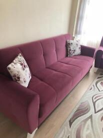 Maroon sofas (3+1+1), Carpet and cofee tables living room set