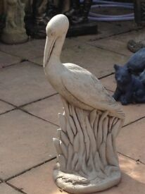 Gorgeous solid stone huge heron statue