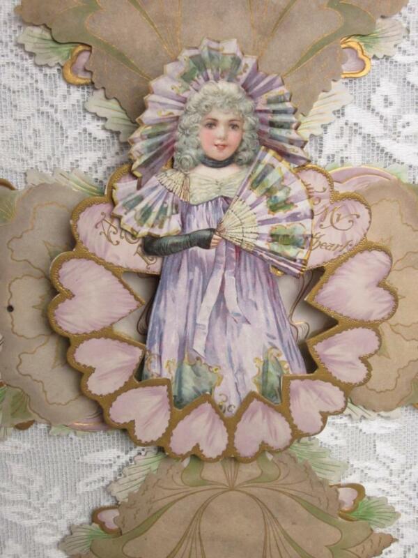 "Large 16"" Antique Victorian Valentine - Dimensional Embossed, Rivets Spectacular"