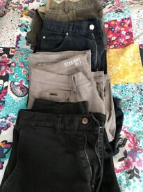 4 pairs of assorted, jeans , trousers, waist 34 , leg 31