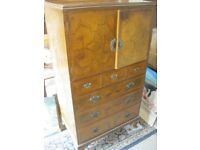 VINTAGE ORNATE WALNUT TALLBOY. CABINET OVER '3 OVER 3' CHEST OF DRAWERS. VIEWING/DELIVERY AVAILABLE