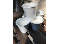 White Metal bucket flowerpot candle (have 6) new.