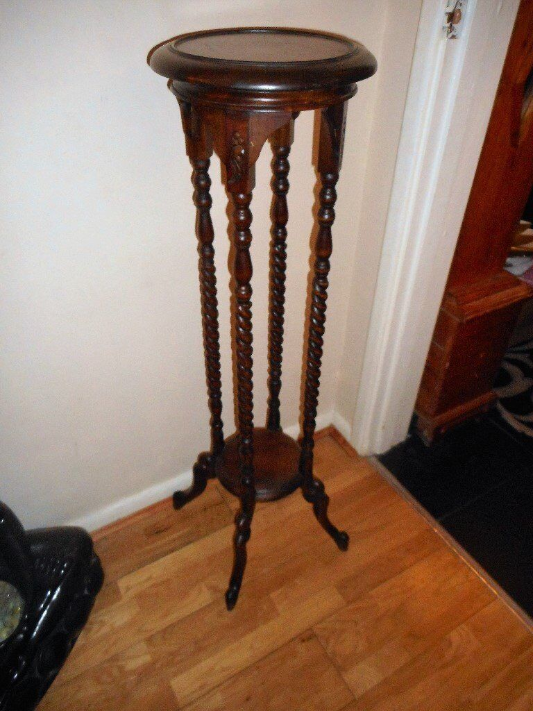 Vintage Wooden Tall Barley Twist Leg Plant Stand In