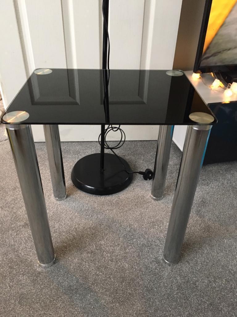 Chrome & black table & lamp