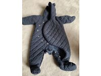 Navy Quilted Baby Pram Suit