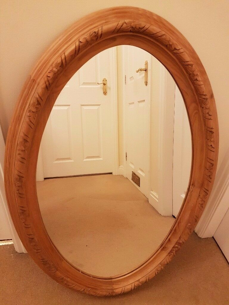 Large Pine Oval Mirror