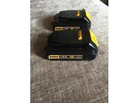 2x18V dewalt batteries