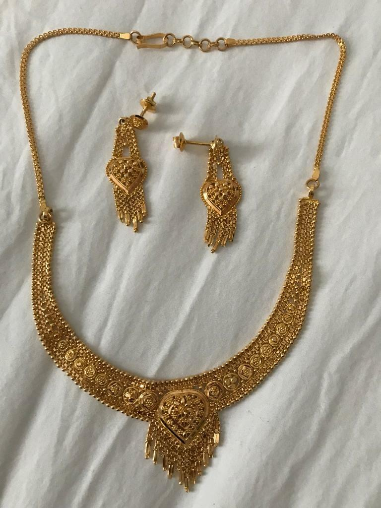 065c81dec92  New  21ct Yellow Gold Earring   Necklace set