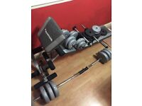 Various weights and bench