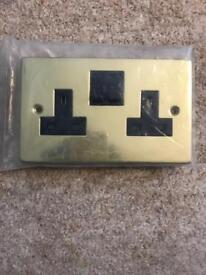 Brass Victoria switched double wall socket